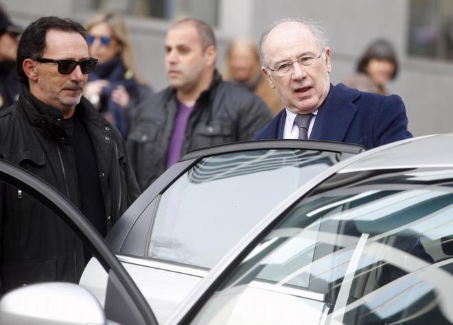 Rodrigo Rato, tras declarar en la Audiencia Nacional por el juicio de...