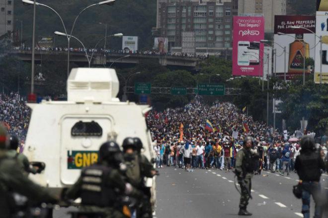 Un momento de la marcha en Caracas.
