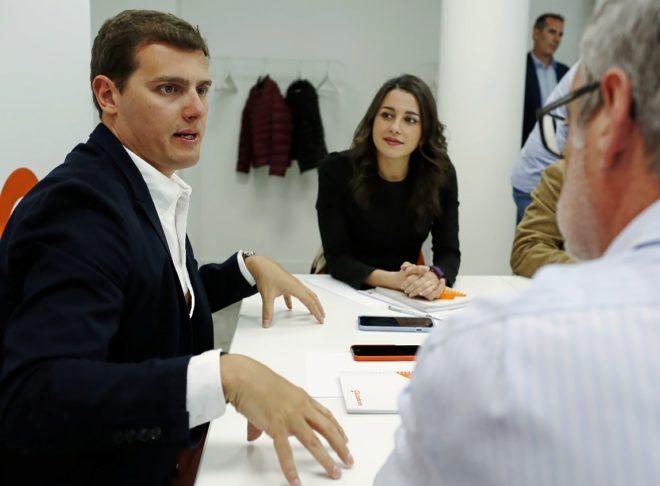 Álbert Rivera e Inés Arrimadas, el martes, durante la reunión de la...