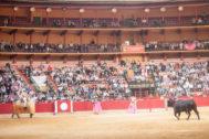 El toro de Alcurrucén acudió cuatro veces al caballo en la tradicional corrida concurso de San Jorge
