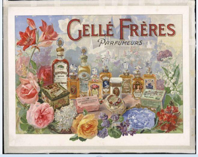 Cartel antiguo expuesto en el Museo del Perfume de París