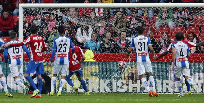 Momento del gol de Victor Rodriguez (Sporting).