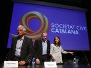 Josep Borrell, Juan Carlos Girauta y Andrea Levy, en la conferencia '¿Qué está pasando en Cataluña?'