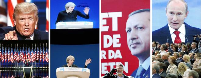 De izda. a dcha., Donald Trump, Theresa May, Recep Tayyip Erdogan y Vladimir Putin.