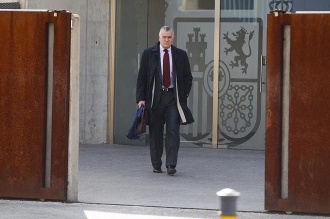 Luis Bárcenas, tras declarar en la Audiencia Nacional el pasado enero.
