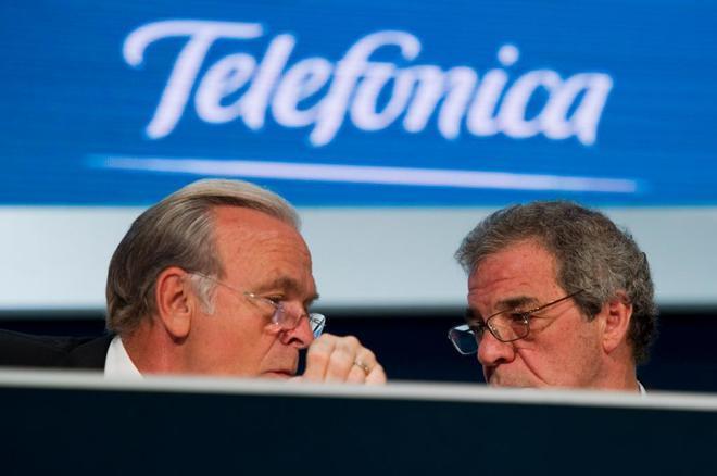 Isidro Fainé, presidente de la Fundación La Caixa, y César Alierta, ex presidente de Telefónica.