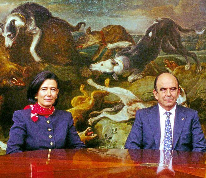 Emilio y Ana Patricia Botín en junta directiva del Santander. 2002