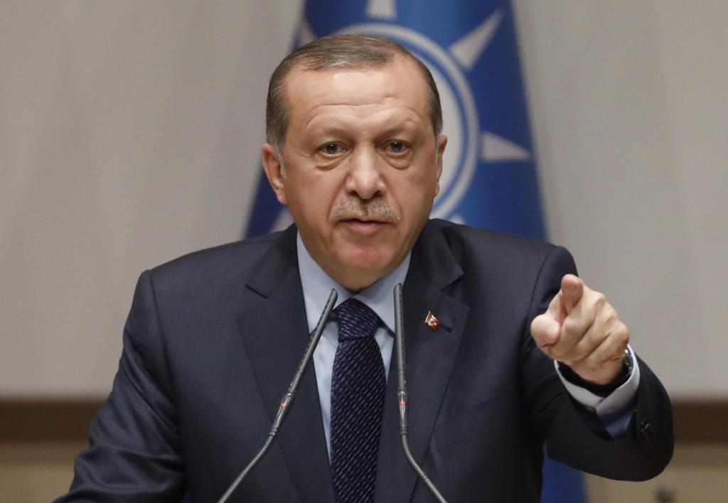 El presidente turco, Recep Tayyip Erdogan, hoy en la sede del Partido Justicia y Desarrollo (AKP).