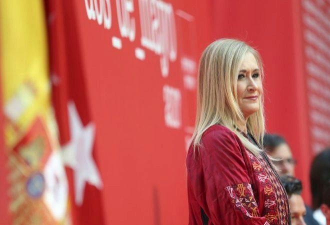 La presidenta de la Comunidad de Madrid, ayer, durante el acto de...