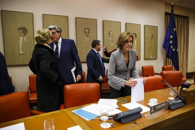 María Dolores de Cospedal, durante su comparecencia en el Congreso de...
