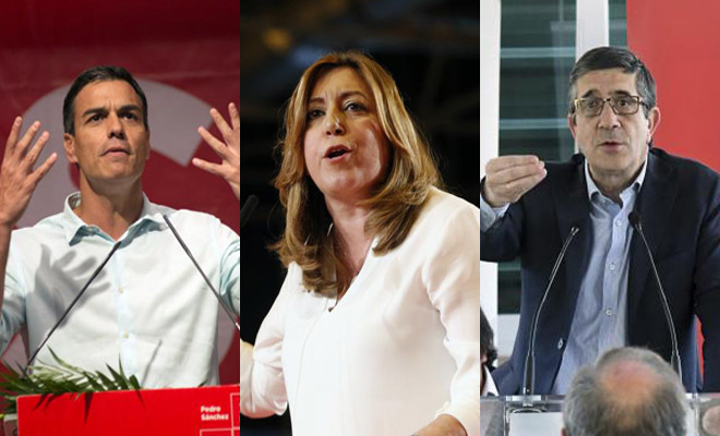Los precandidatos a las primarias del PSOE Pedro Sánchez, Susana Díaz y Patxi López.