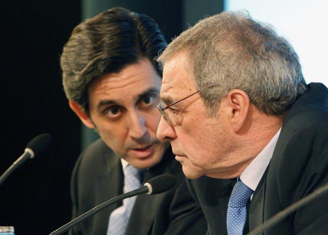 José María Álvarez-Pallete y César Alierta durante una presentación de resultados de Telefónica