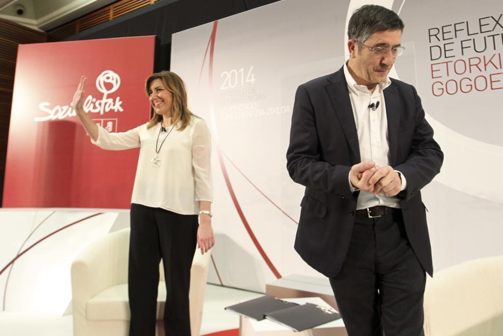 Susana Díaz y Patxi López en un acto del PSE en San Sebastián celebrado en enero.