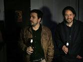 Los líderes de IU, Alberto Garzón, y Podemos, Pablo Iglesias, el 9...
