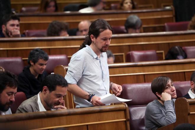 Pablo Iglesias durante una intervención en el pleno del Congreso de...