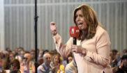 Susana Díaz, en un acto con militantes en Tierz (Huesca).