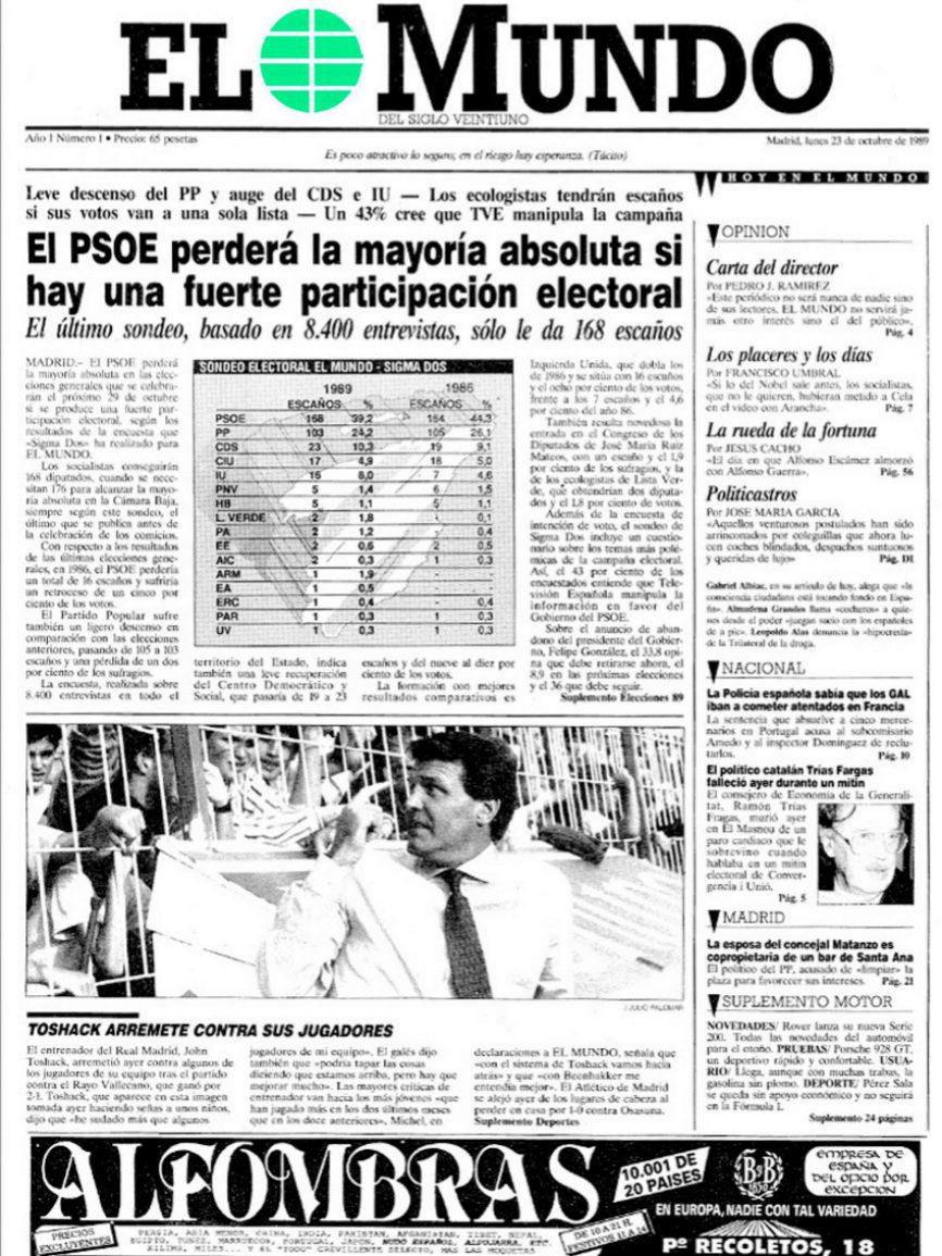 El 23 de octubre de 1989 nace EL MUNDO, un nuevo periódico dirigido...