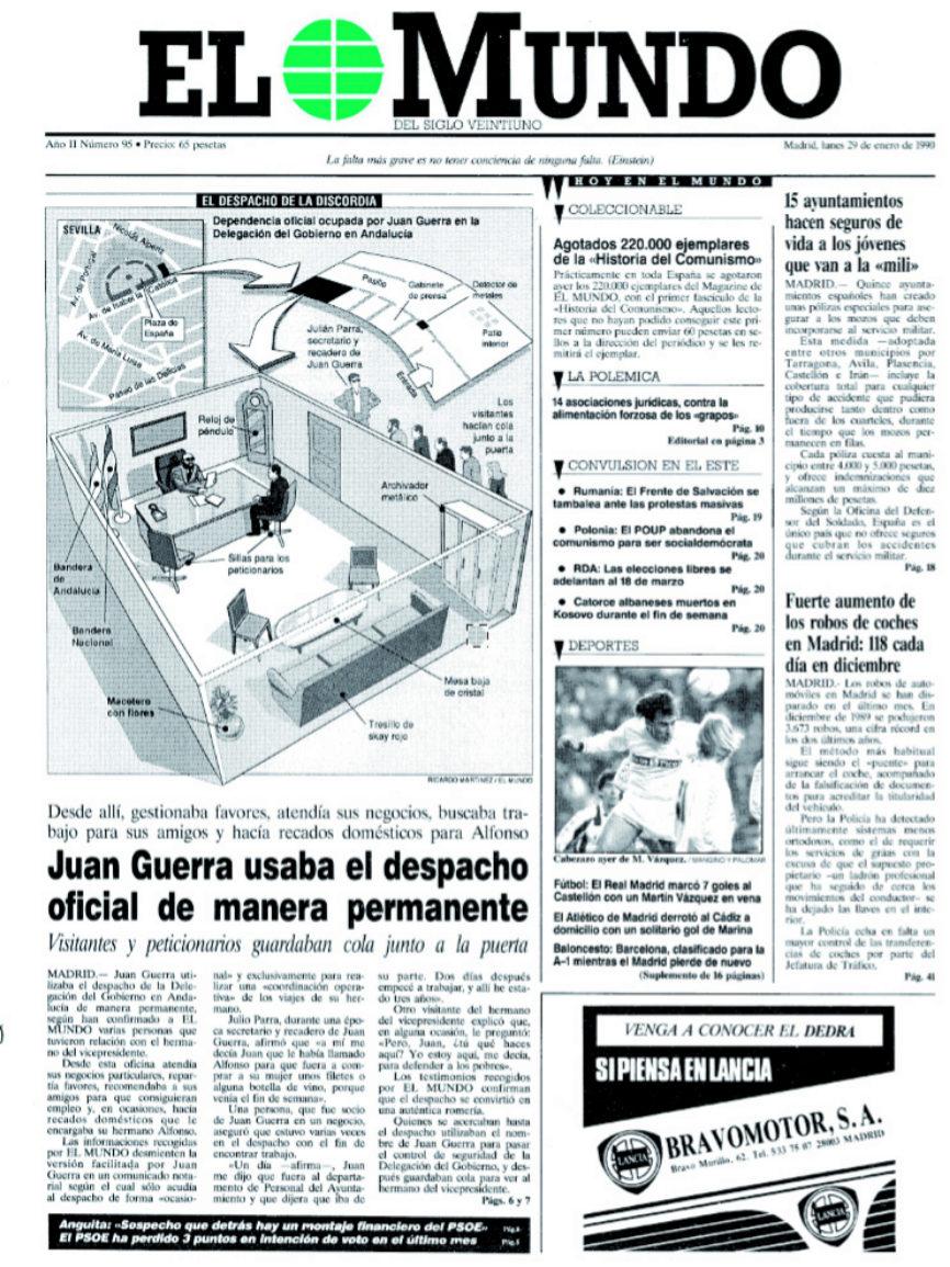 29-01-1990. Juan Guerra usaba el despacho oficial de manera...