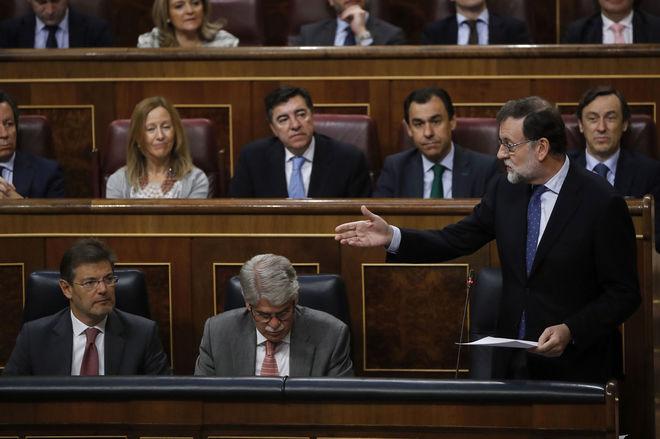 Mariano Rajoy, durante uno de sus turnos de palabra, en la sesión de control al Gobierno.