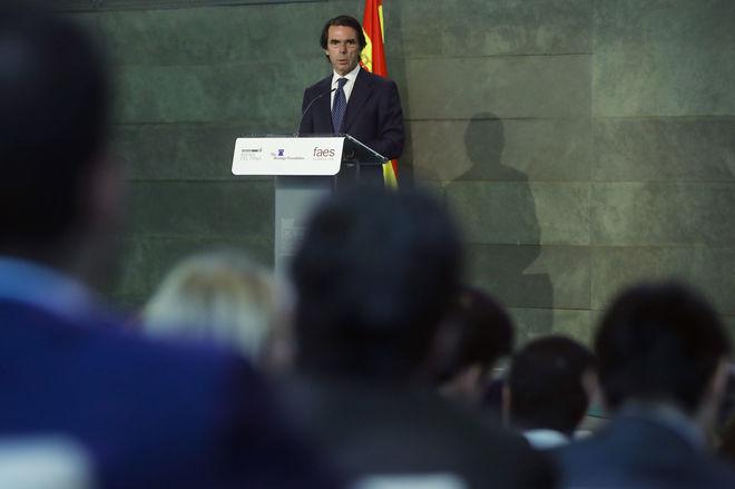 Aznar, ayer, durante su intervención en el acto celebrado en Madrid.