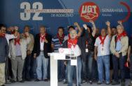 José Ángel Fernández Villa, frente al atril, en un acto de SOMA-UGT, cuando todavía era secretario.