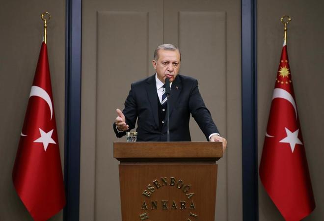 El presidente Erdogan durante una rueda de prensa en Ankara.