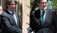 Carles Puigdemont y Mariano Rajoy se saludan a su llegada hoy al Museo...