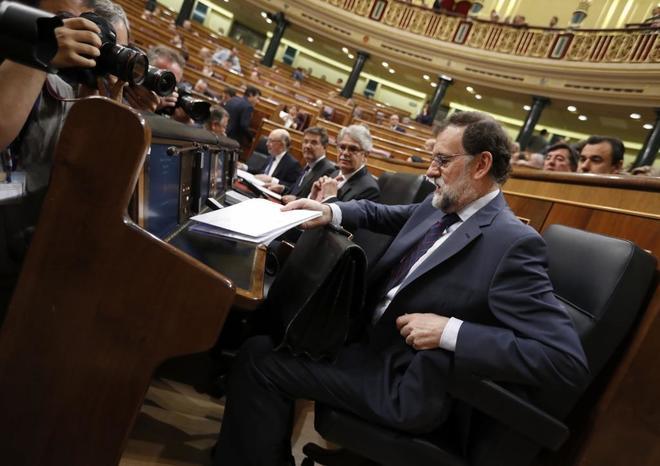 Mariano Rajoy, hoy, en la sesión de control al Gobierno en el Congreso.