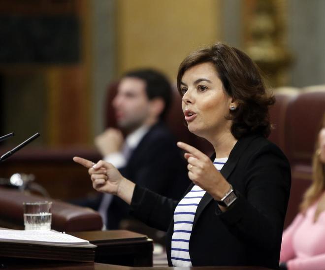 Soraya Sáenz de Santamaría, este miércoles en el Congreso de los...