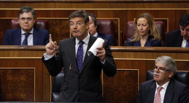 El ministro de Justicia, Rafael Catalá, durante la sesión de control...