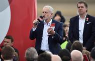 Jeremy Corbyn durante un acto de campaña, ayer, en Liverpool.