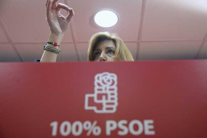 La candidata a la Secretaría General del PSOE, Susana Díaz, en el...