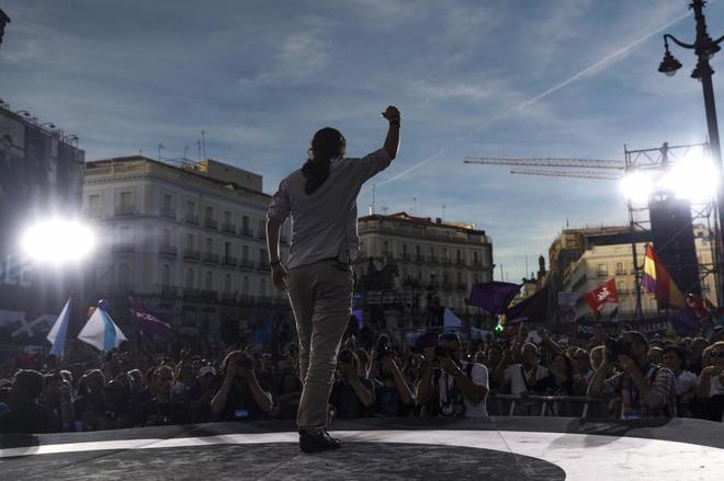 Pablo Iglesias interviene en la Puerta del Sol de Madrid en la concentración del pasado sábado.