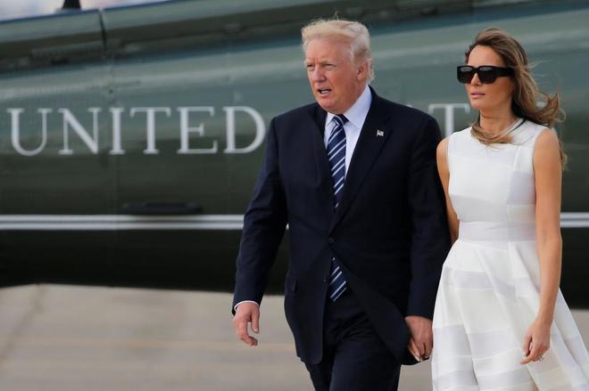 Donald Trump y su esposa Melania, a su llegada al aeropuerto de Ben Gurion, en Tel Aviv.