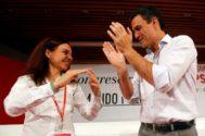 Sara Hernandez Secretaria general del PSOE Madrid y Pedro Sanchez, secretario general del PSOE.