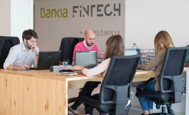 Un grupo de emprendedores en la sede de Bankia Fintech.