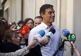 Pedro Sánchez, este miércoles a su llegada a Ferraz.