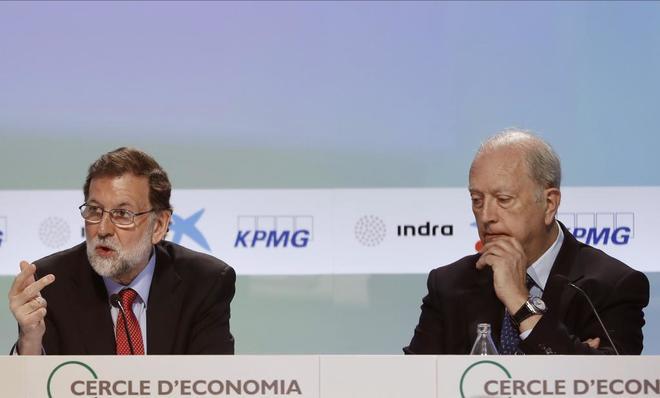 Mariano Rajoy y Juan José Brugera, esta mañana en Sitges.