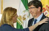 Susana Díaz (PSOE) saluda a Juan Marín (Cs) durante la reunión para...