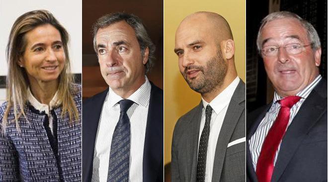 De izquierda a derecha: Carolina Botín Sanz de Sautuola O'Shea, Carlos Sainz, Pere Guardiola y Jacinto Rey