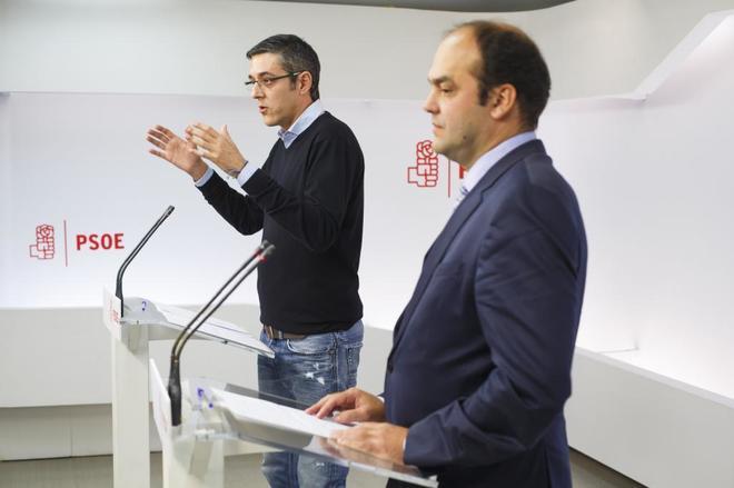 Rueda de prensa en Ferraz ofrecida el pasado mes de enero por  Eduardo Madina y José Carlos Diez.
