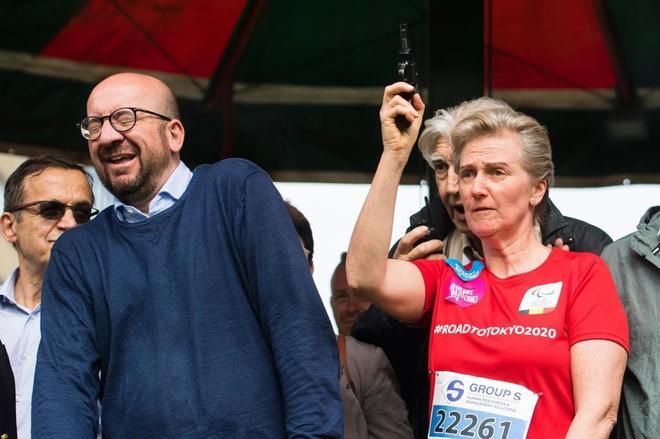 El primer ministro belga, Charles Michel, reaccionando al pistoletazo de salida del pasado domingo. LAURIE DIEFFEMBACQAFP