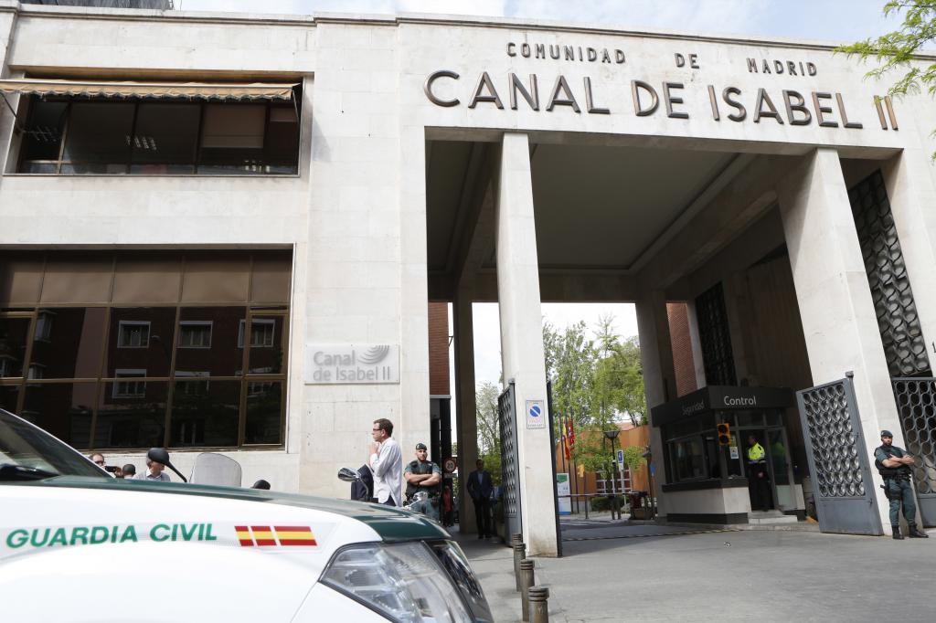 Sede del Canal de Isabel II, en una imagen del día que la UCO entró a hacer registros.
