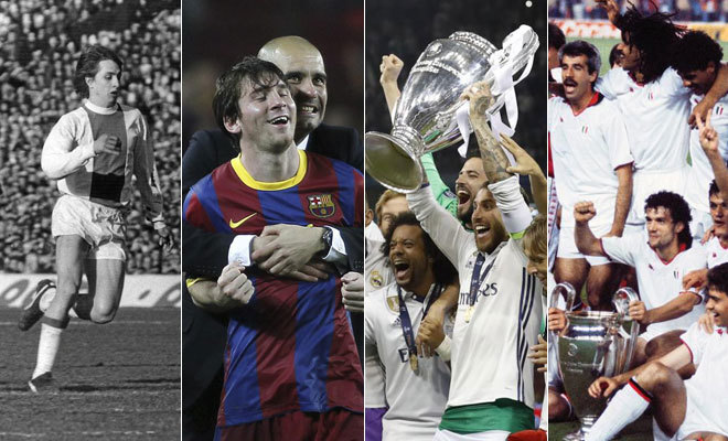 De izda a dcha: El Ajax de Cruyff, el Barcelona, el Real Madrid y el Milan de Sacchi.