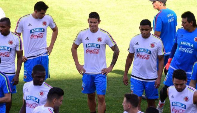 James Rodríguez, durante el entrenamiento de la selección colombiana en Murcia.