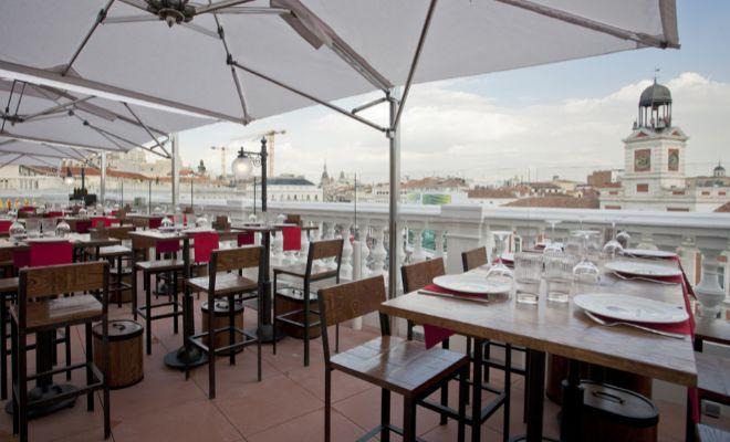 Restaurantes con terrazas para cenar en domingo en madrid for El corte ingles madrid sol