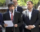 Carles Puigdemont y Oriol Junqueras, esta mañana en Barcelona.