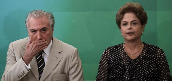 El presidente Michel Temer y la ex presidenta Dilma Rousseff en una imagen de archivo de 2015.
