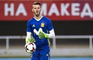 De Gea, durante el entrenamiento de la selección en Skopje (Macedonia).