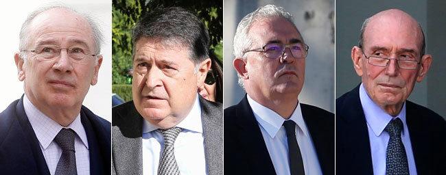 De izqda. a dcha., Rodrigo Rato, José Luis Olivas, Francisco Verdú y...